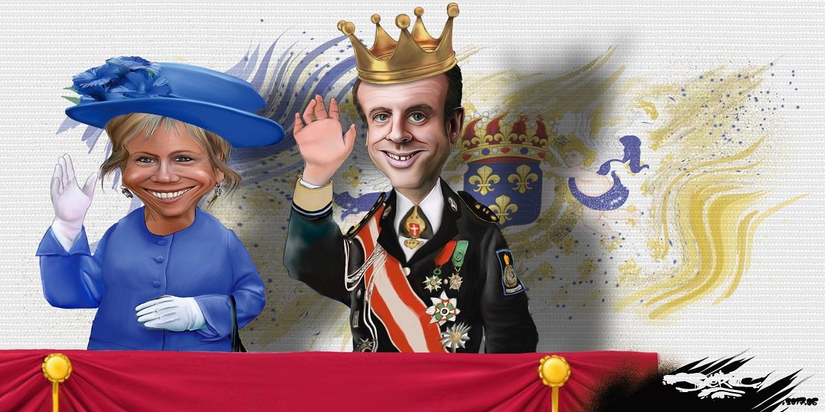 Emmanuel Macron 1er, nouveau Roi de France avec Dame Brigitte, souveraine