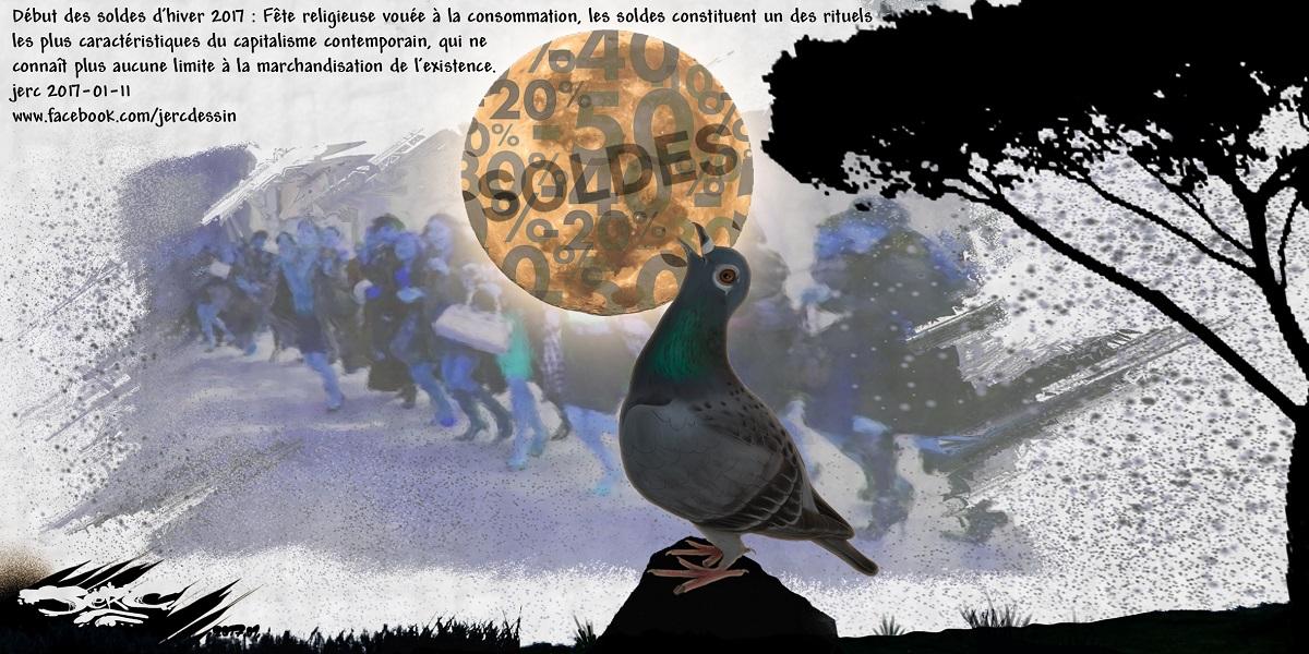 Début des soldes d'hiver 2017, le pigeon consommateur est appelé à consommer