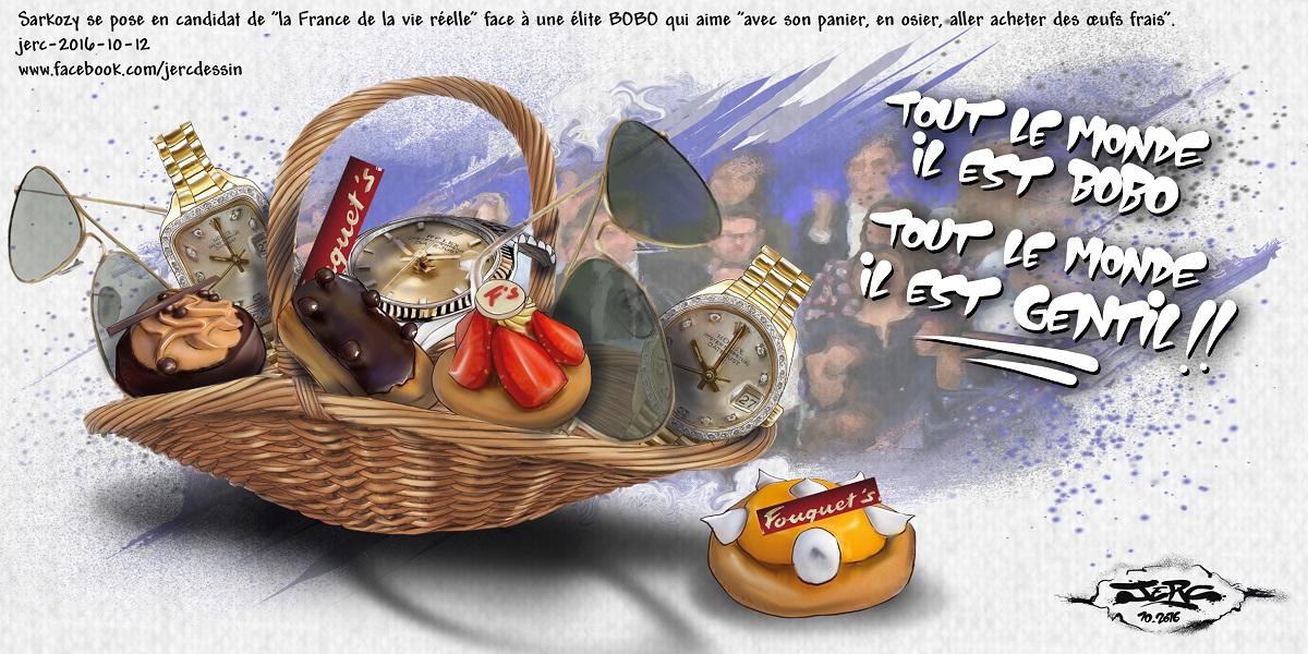 Le panier en osier des BOBO de Nicolas Sarkozy, candidat de la France de la vie réelle