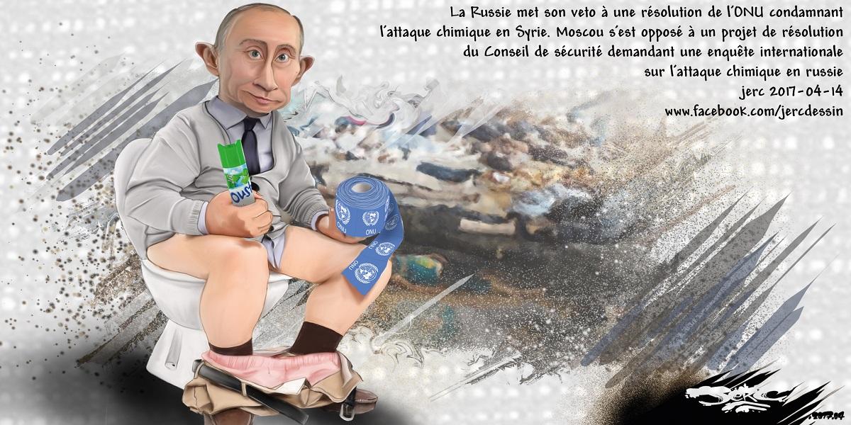 Vladimir Poutine aux toilettes se torche avec les résolutions de l'ONU
