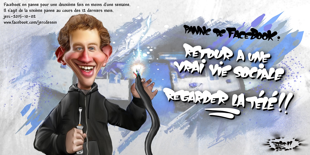 Mark Zuckerberg en panne de fausse vie sociale... Facebook