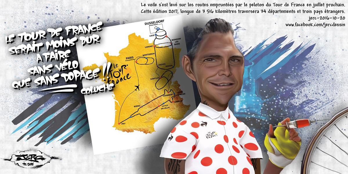 Richard Virenque, champion français du dopage, présente la carte du Tour de France