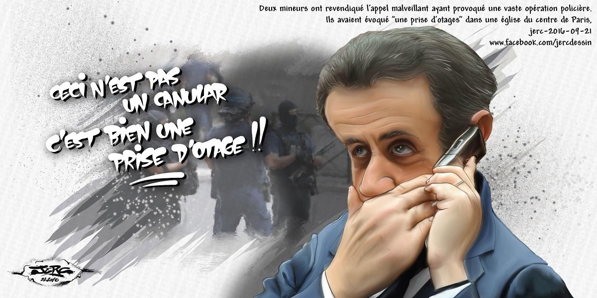 Nicolas Sarkozy et le canular de la prise d'otage dans une église du centre de Paris