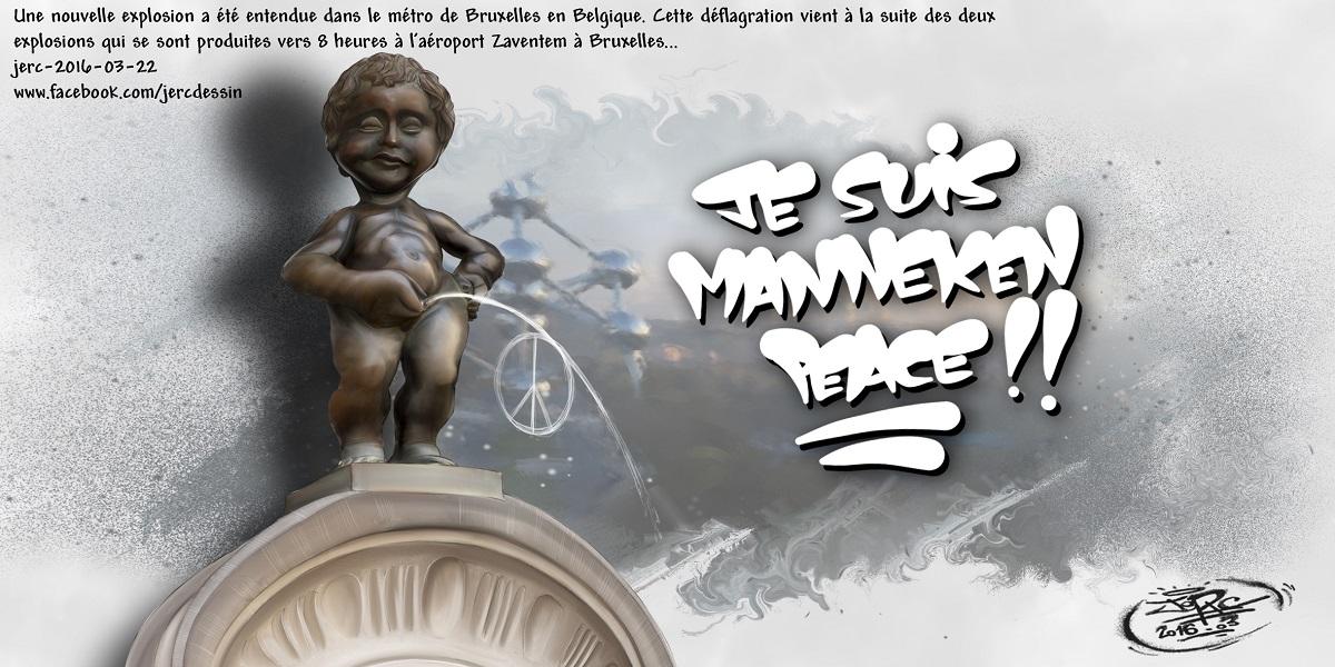 Manneken-Pis sur les terroristes qui viennent de frapper la Belgique