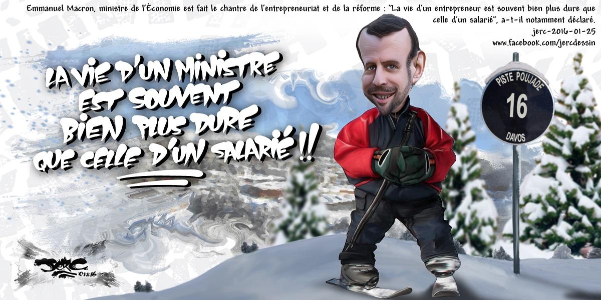 La dure vie d'Emmanuel Macron au ski