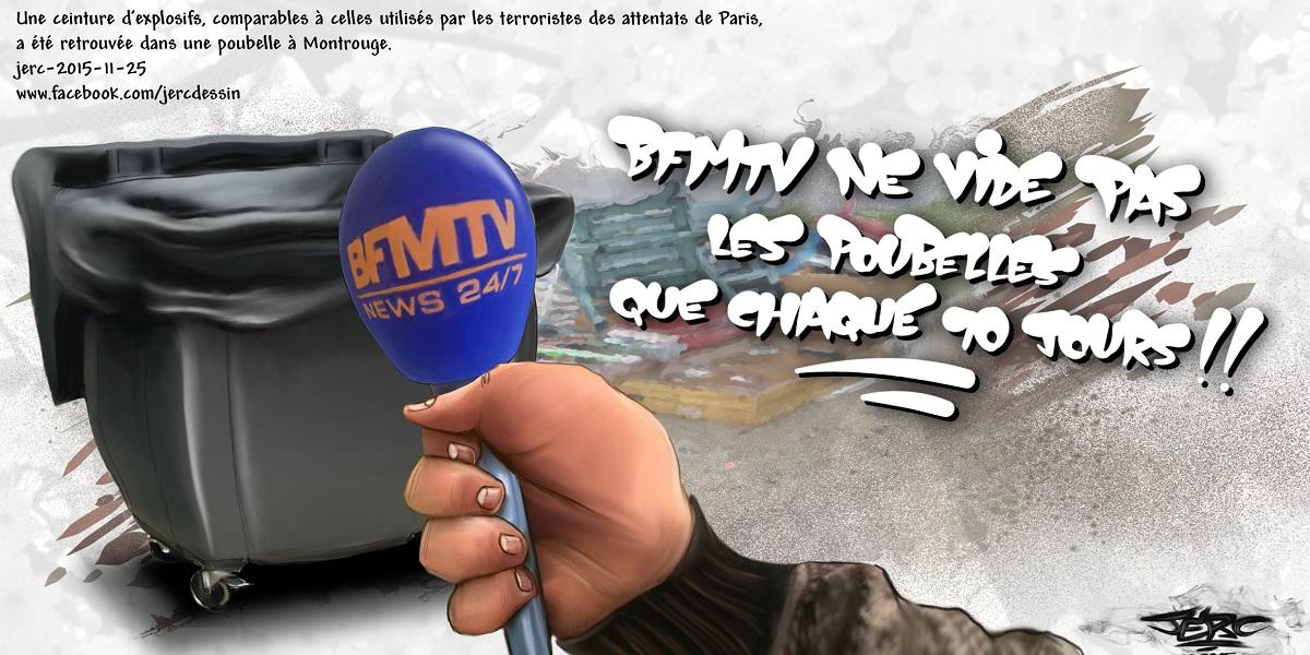 Pour les attentats, BFMTV fait même l'interview des poubelles