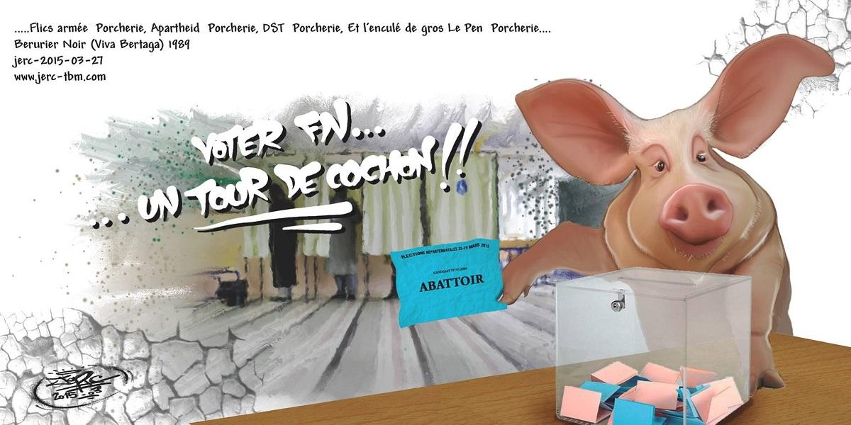 Les cochons vont voter Marine Le Pen, pour aller à l'abattoir