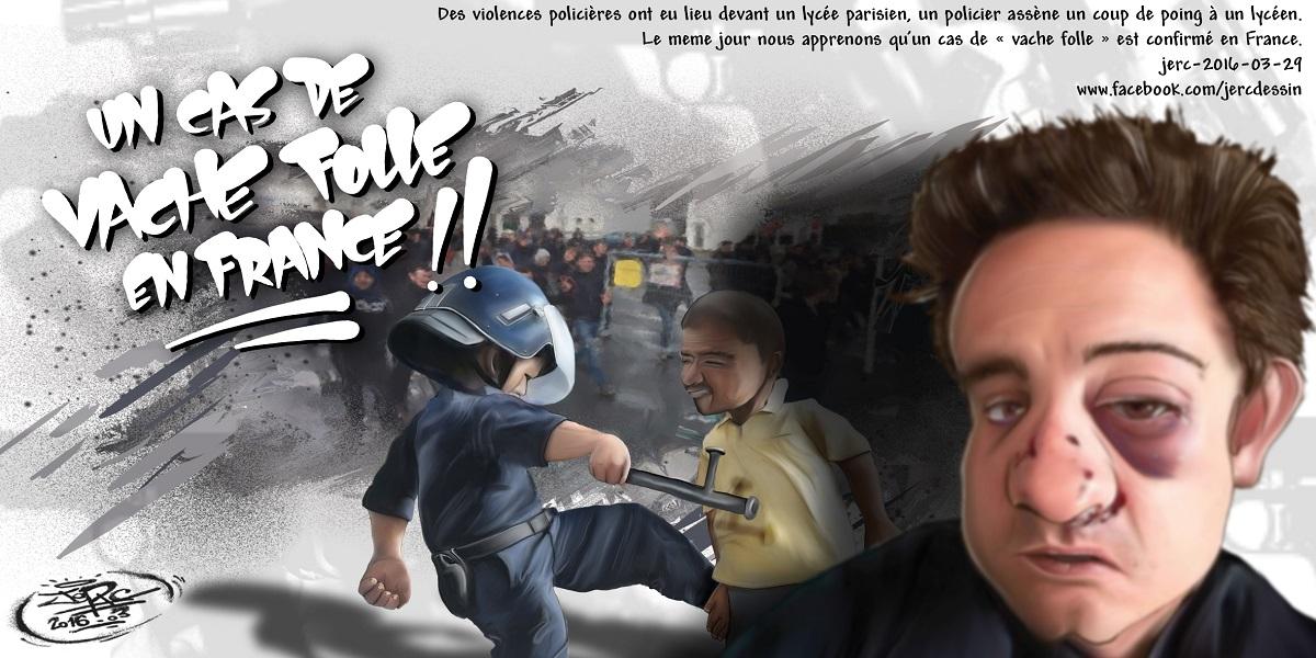 Les policiers français violentent des lycéens, seraient-ils atteints de la maladie de la vache folle ?