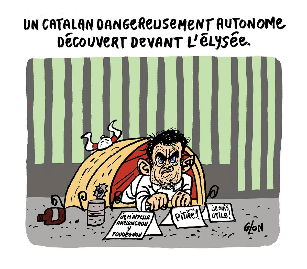 Dessin de Manuel Valls squattant devant l'Elysée