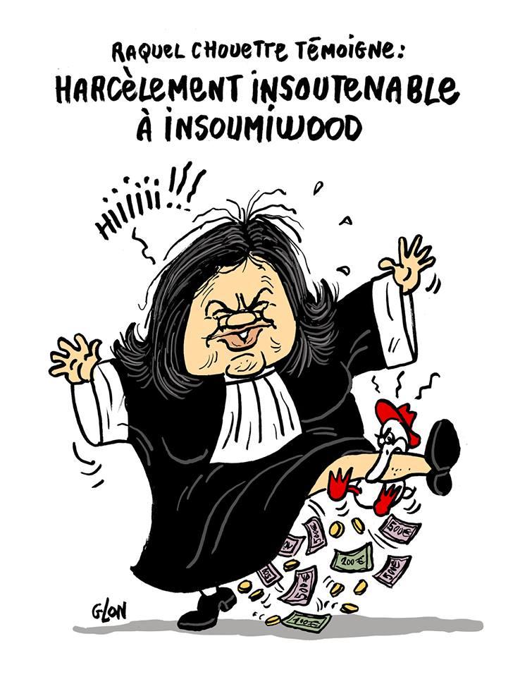 Dessin de Raquel Garrido en robe d'avocat qui se fait mordre par le canard enchainé