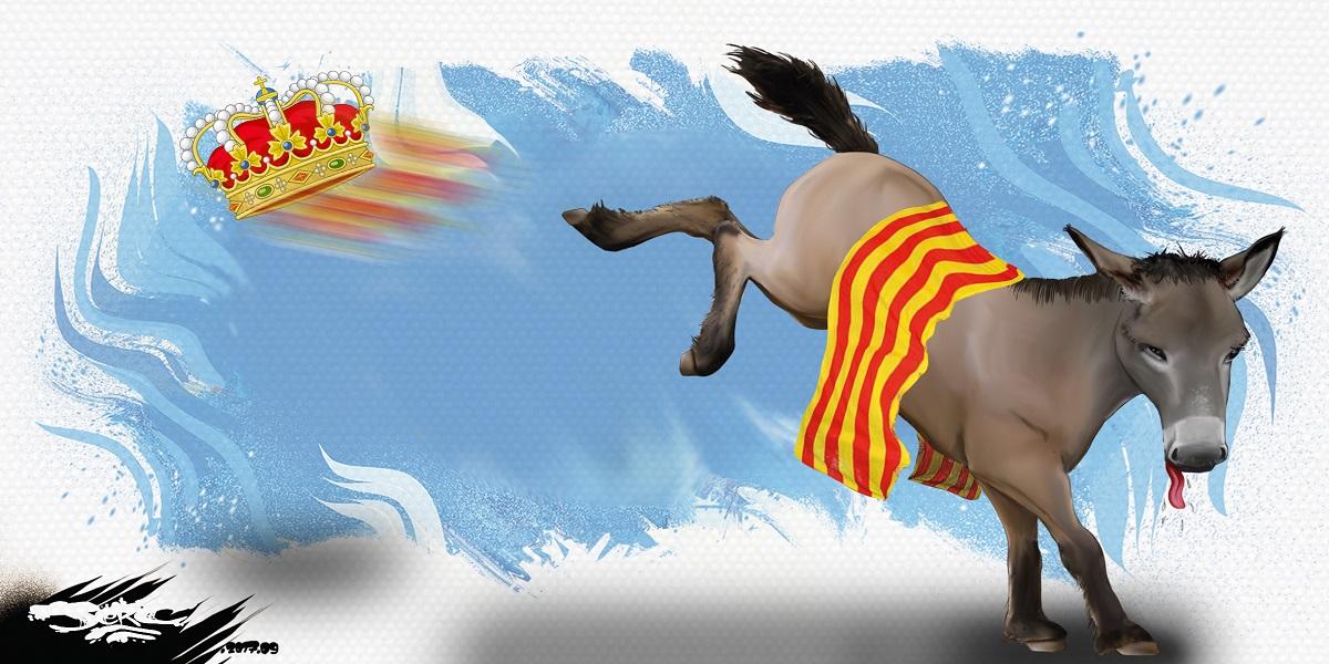 Dessin de l'âne catalan qui rue dans la couronne espagnole
