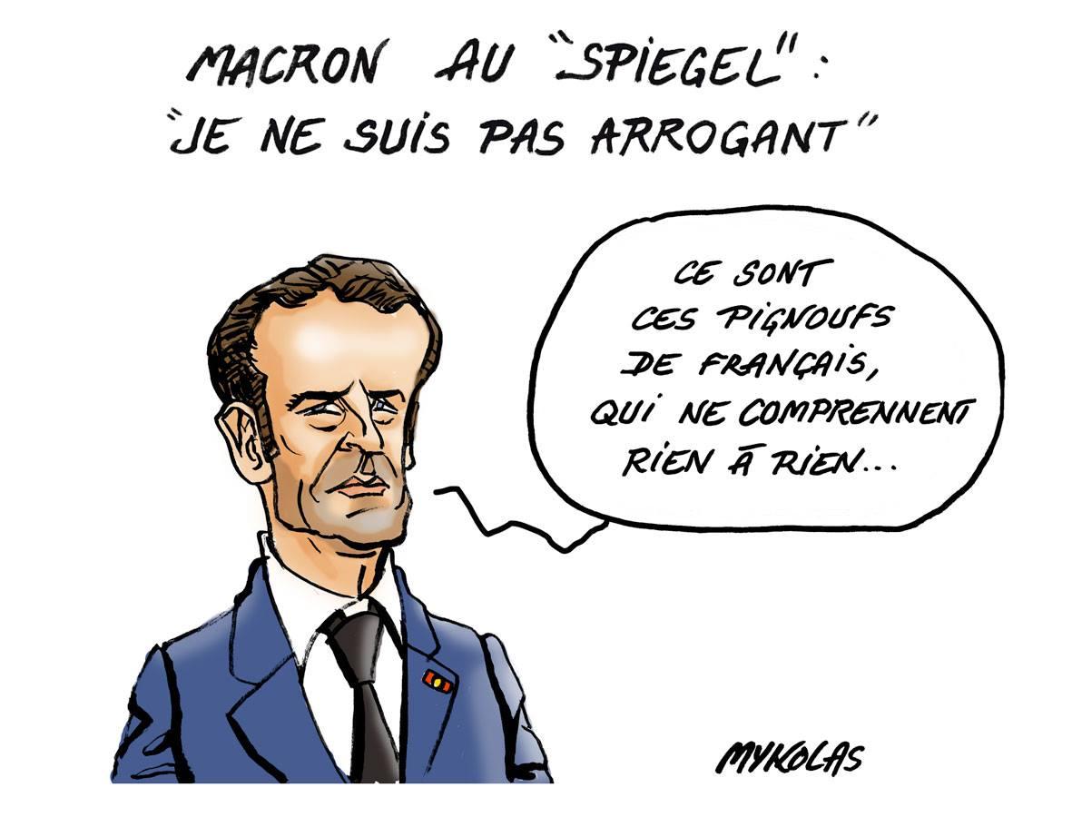 Dessin d'Emmanuel Macron, l'homme qui n'est pas arrogant