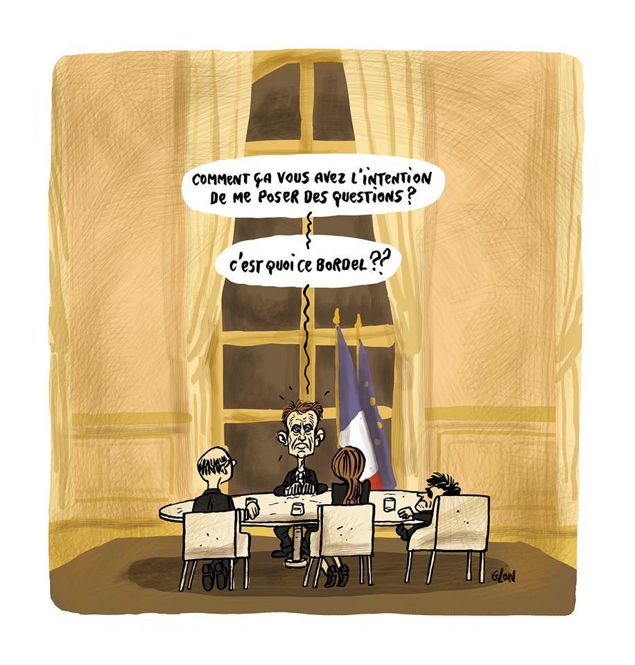 dessin d'Emmanuel Macron avant son interview