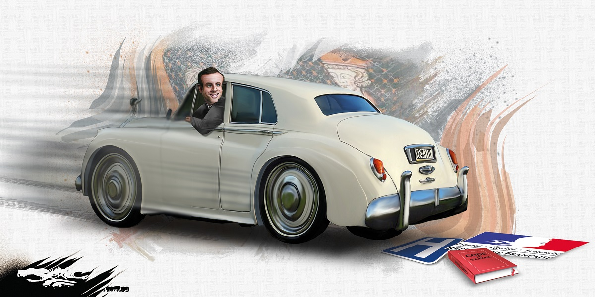dessin d'Emmanuel Macron en voiture qui recule sur les acquis sociaux