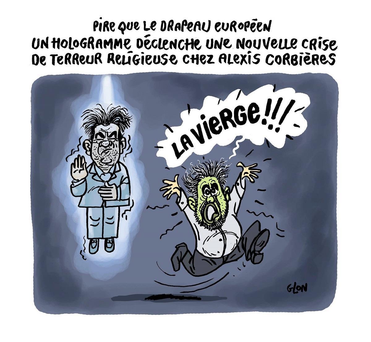dessin d'Alexis Corbières terrorisé par l'hologramme de Jean-Luc Mélenchon qu'il prend pour la Vierge