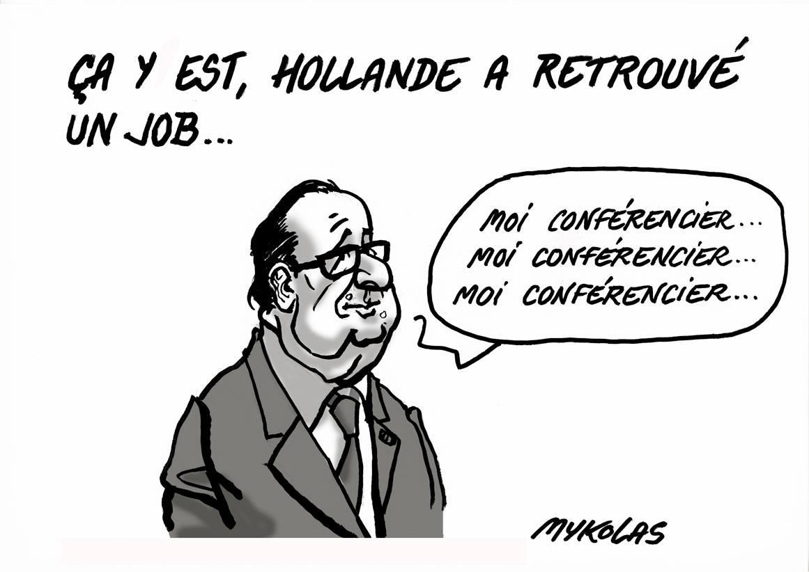 dessin de François Hollande dans son nouveau travail de conférencier