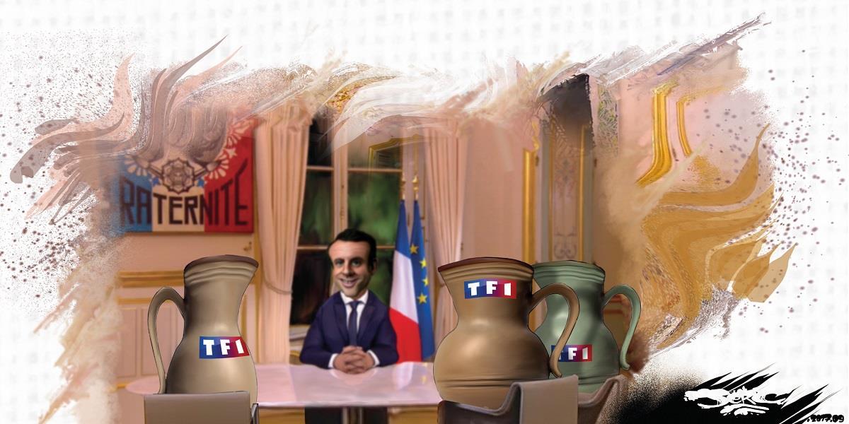 dessin d'Emmanuel Macron qui fait sa publicité pendant son interview