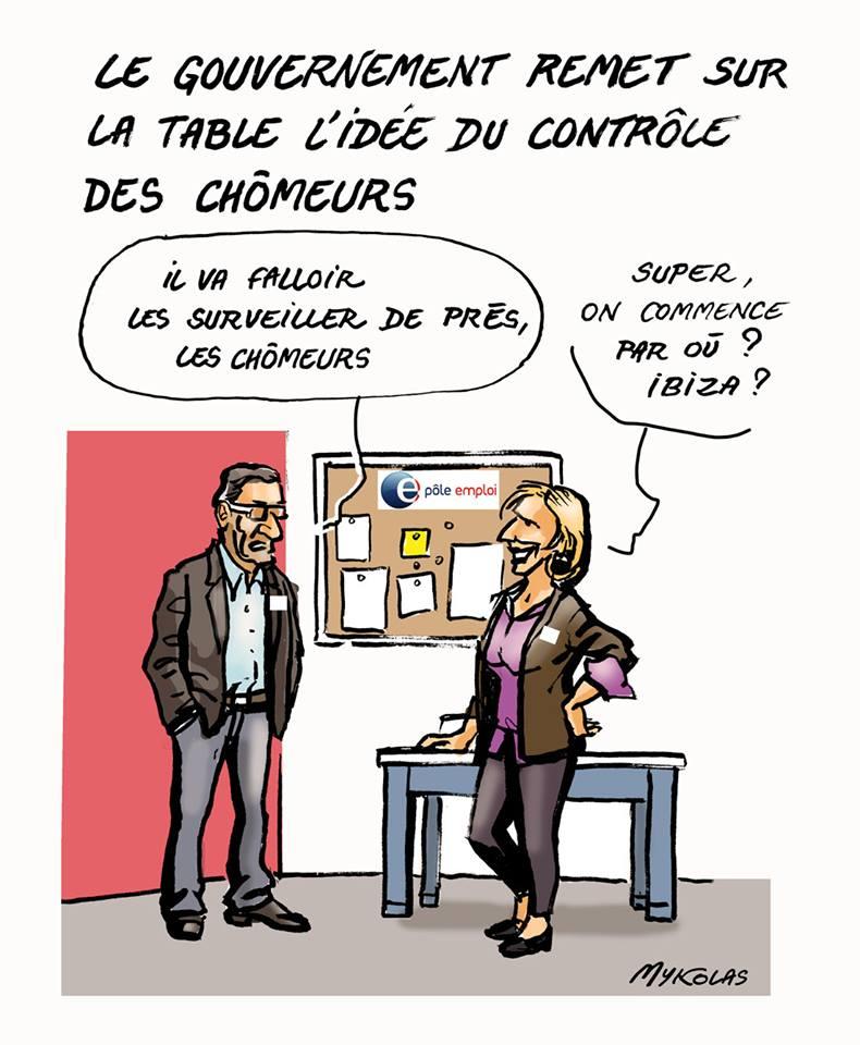dessin d'une agence de Pôle Emploi pour surveiller les chômeurs