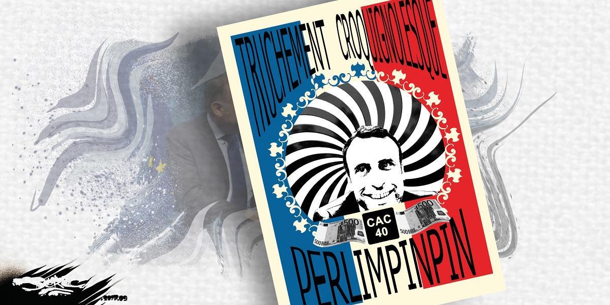 dessin d'une affiche d'Emmanuel Macron, truchement croquignolesque, CAC 40 perlimpinpin