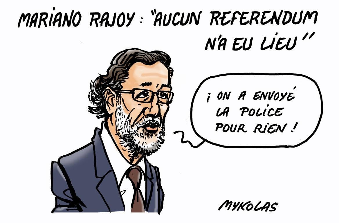 dessin de Mariano Rajoy niant le référendum en Catalogne