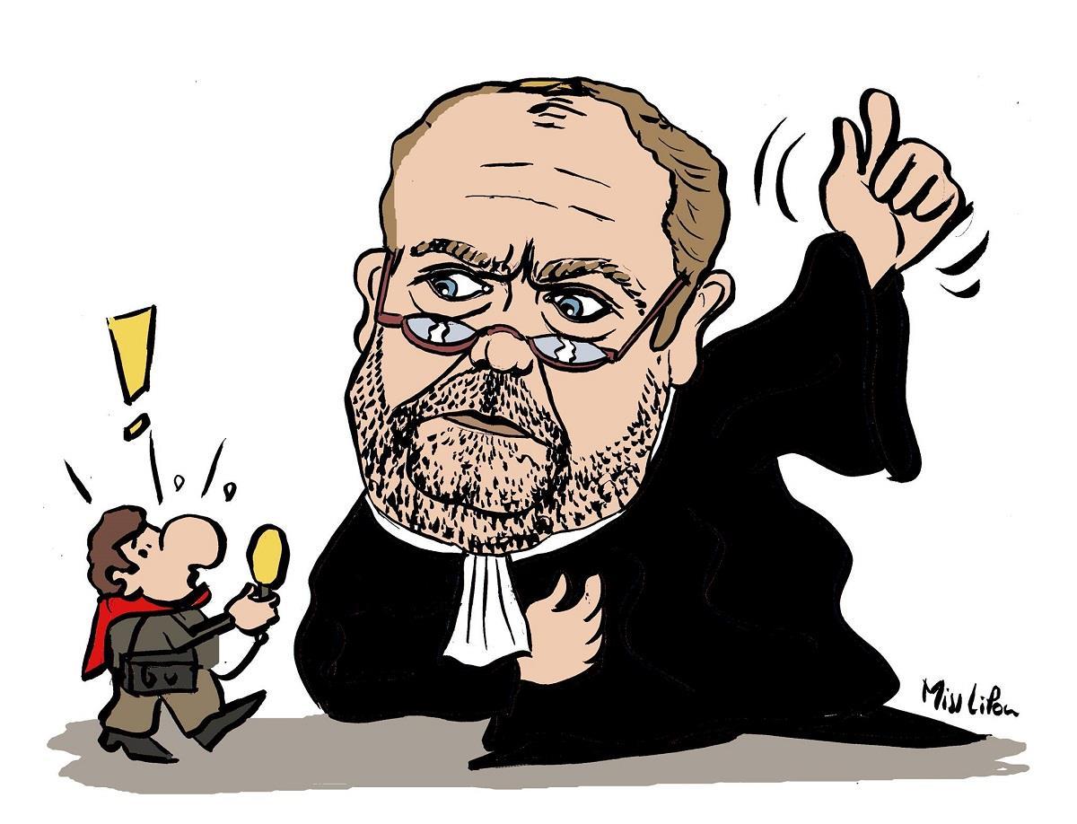 dessin d'Erix Dupond-Moretti, l'impressionnant ténor du barreau de l'affaire Merah