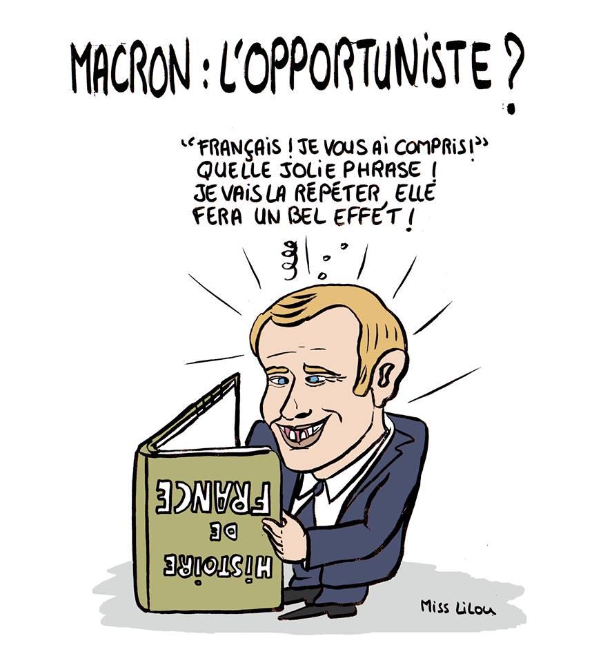 Dessin humoristique d'Emmanuel Macron en train s'inspirer de l'Histoire de Frace