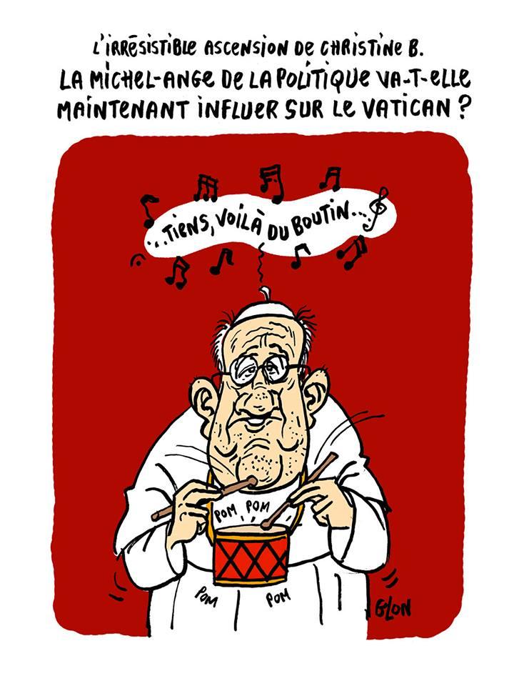 """Dessin du Pape François en train de chanter """"Tiens, voilà du Boutin"""" sur l'air de """"Tiens, voilà du boudin"""""""