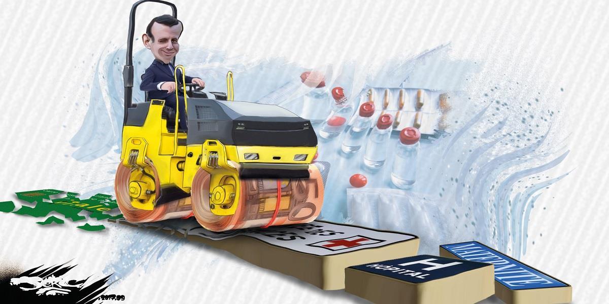 dessin d'Emmanuel Macron conduisant un rouleau compresseur qui écrase le service public hospitalier