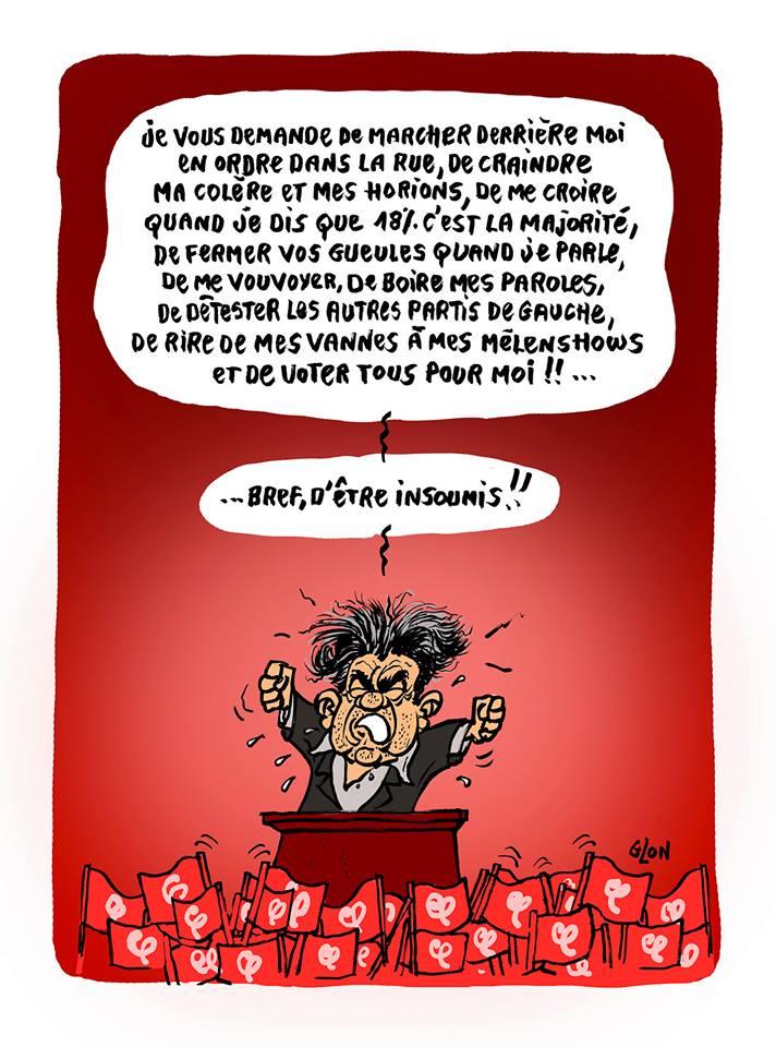 dessin de Jean-Luc Mélenchon qui ordonne aux Insoumis d'être complètement soumis à sa volonté