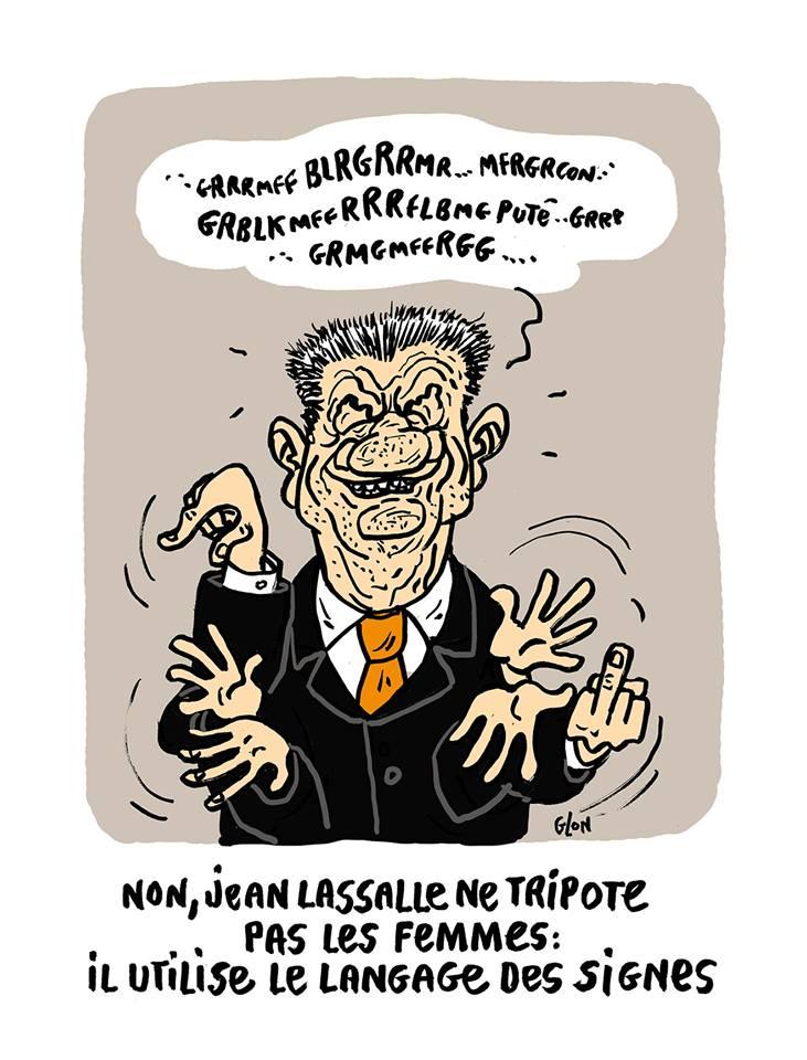 dessin humoristique de Jean Lassalle en train de parler aves les mains