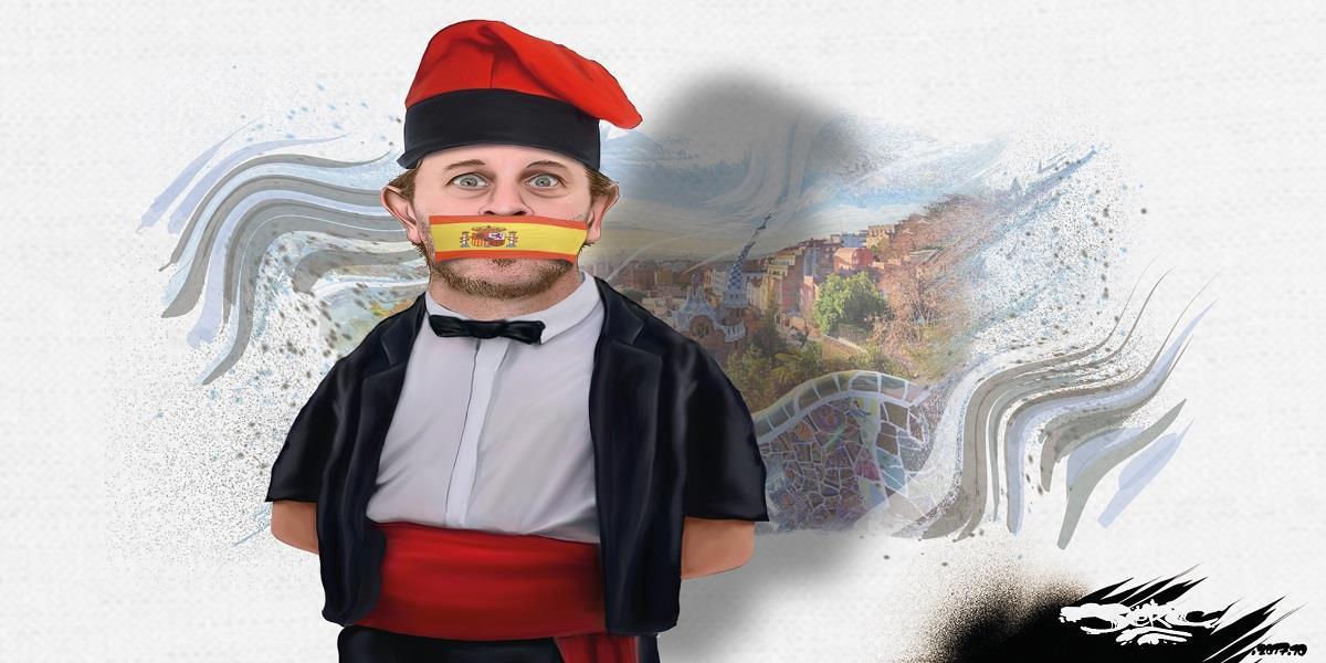 dessin d'un indépendantiste catalan bâillonné