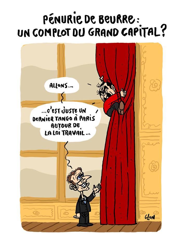 dessin d'Emmanuel Macron qui terrorise Philippe Martinez accroché aux rideaux