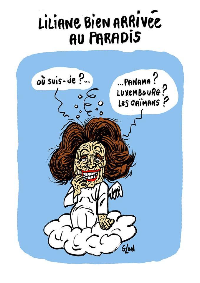 dessin humoristique de Liliane Bettencourt au Paradis