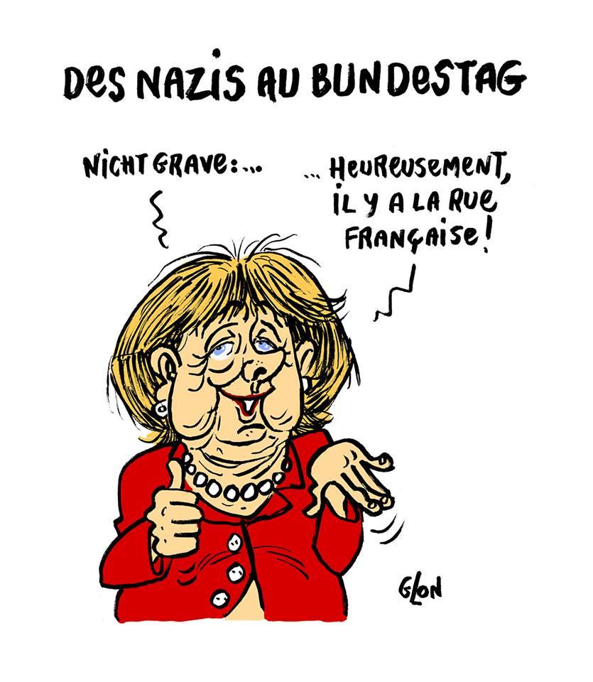 dessin d'Angela Merkel commentant l'arrivée des Nazis au Bunderstag