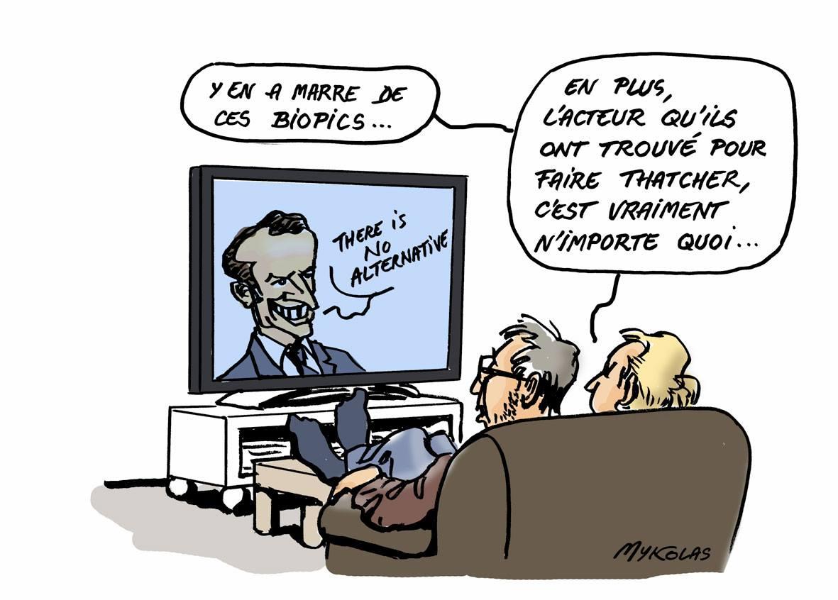 dessin de spectateurs qui regardent Emmanuel Macron à la télévision