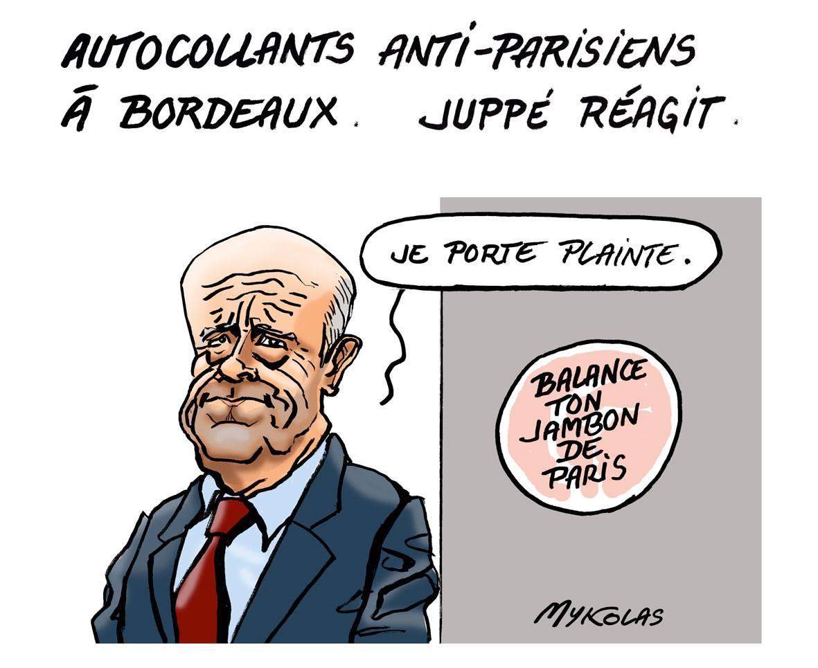 dessin humoristique d'Alain Juppé souhaitant porter plainte pour les autocollants anti-parisiens