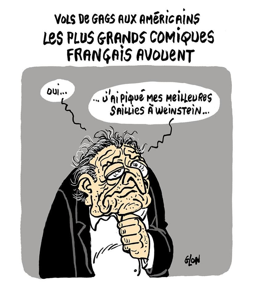 dessin humoristique de Dominique Strauss-Kahn avouant le vol de blagues aux comiques américains