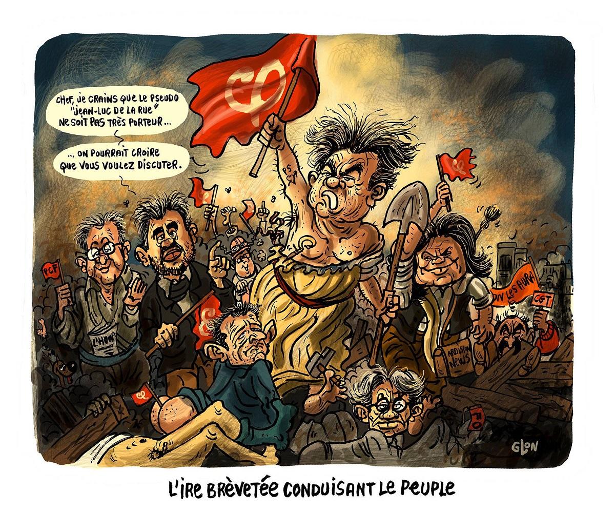 Dessin du tableau de Delacroix, Jean-Luc Mélenchon guidant le peuple