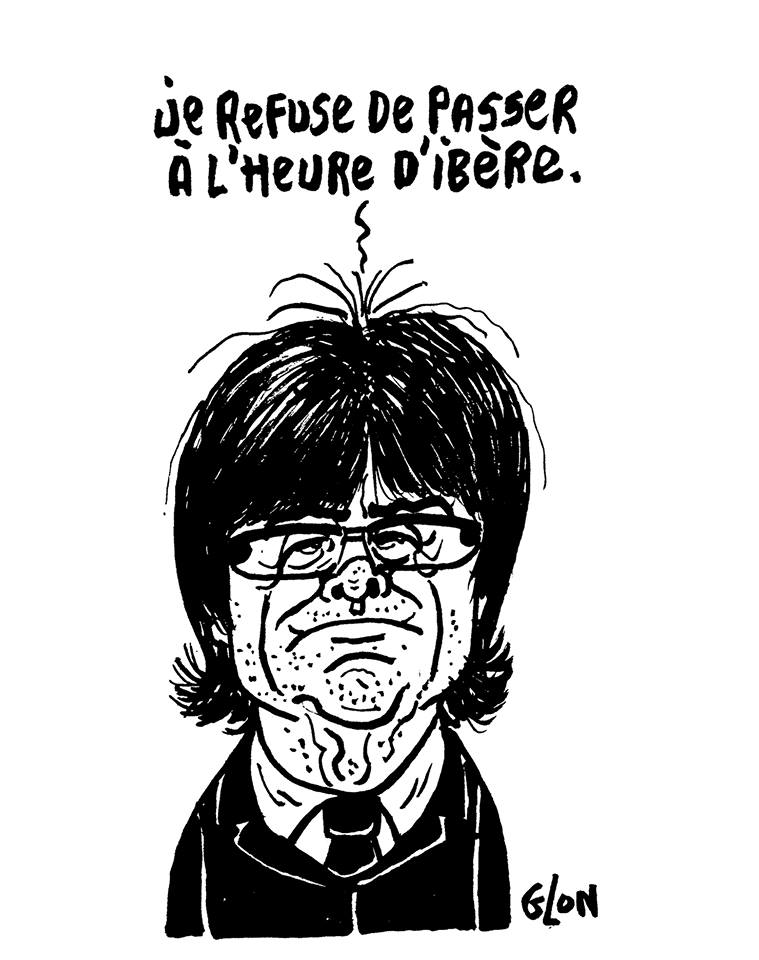 dessin humoristique de Carles Puigdemont qui refuse les décisions ibériques
