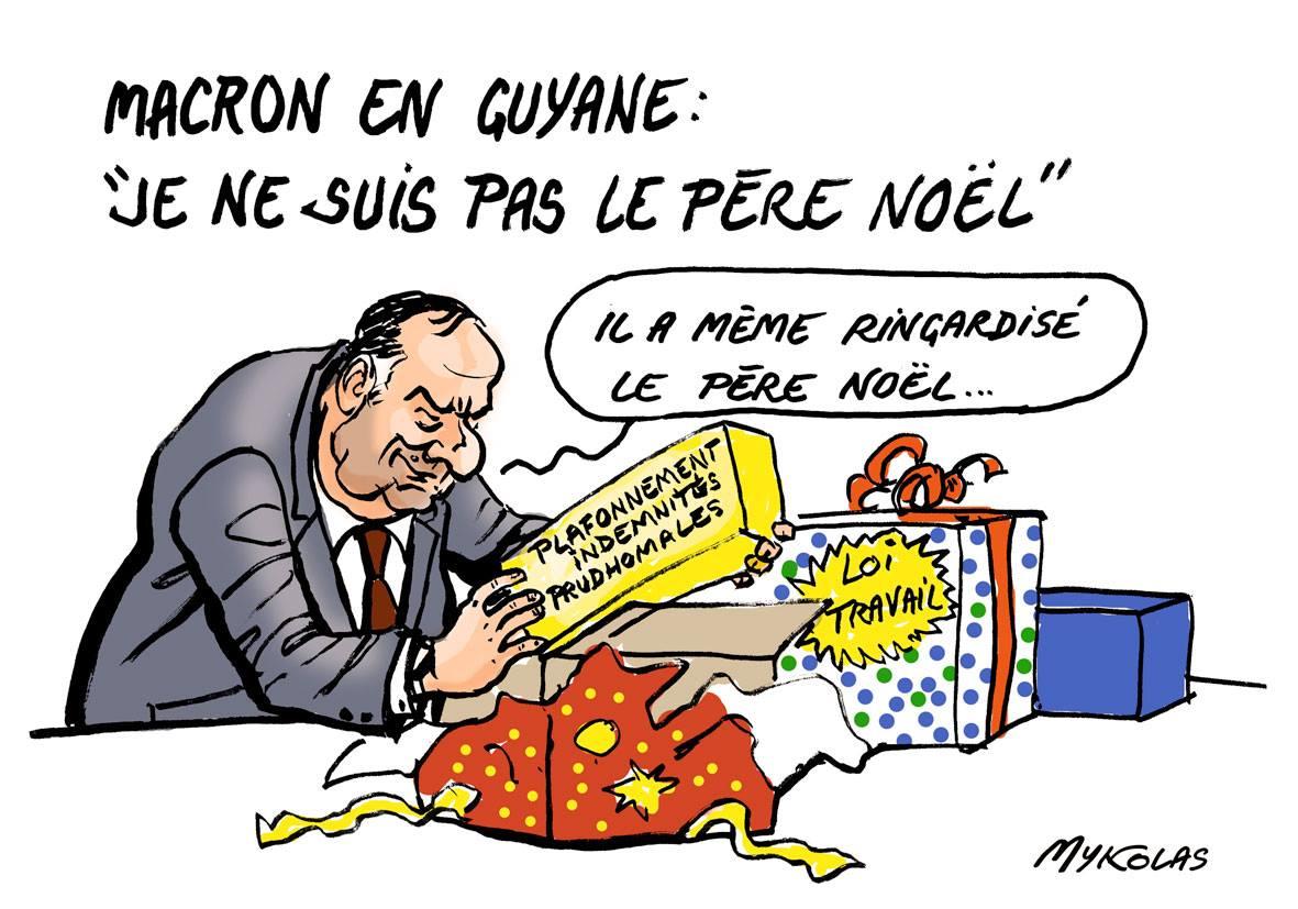dessin humoristique de Pierre Gattaz en train d'ouvrir les cadeaux d'Emmanuel Macron aux grands patrons
