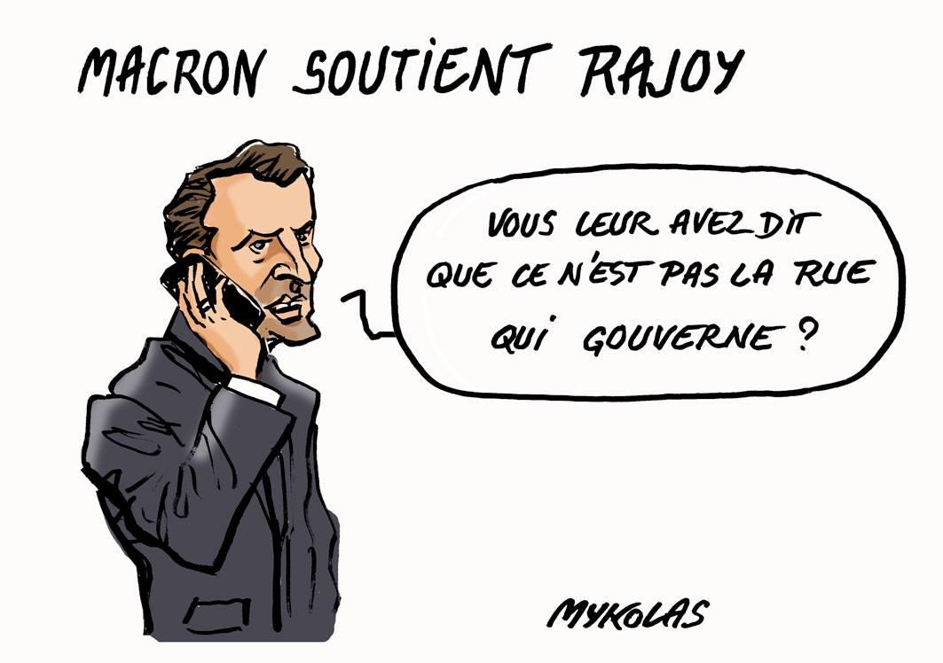 Dessin d'Emmanuel Macron téléphonant à Mariano Rajoy