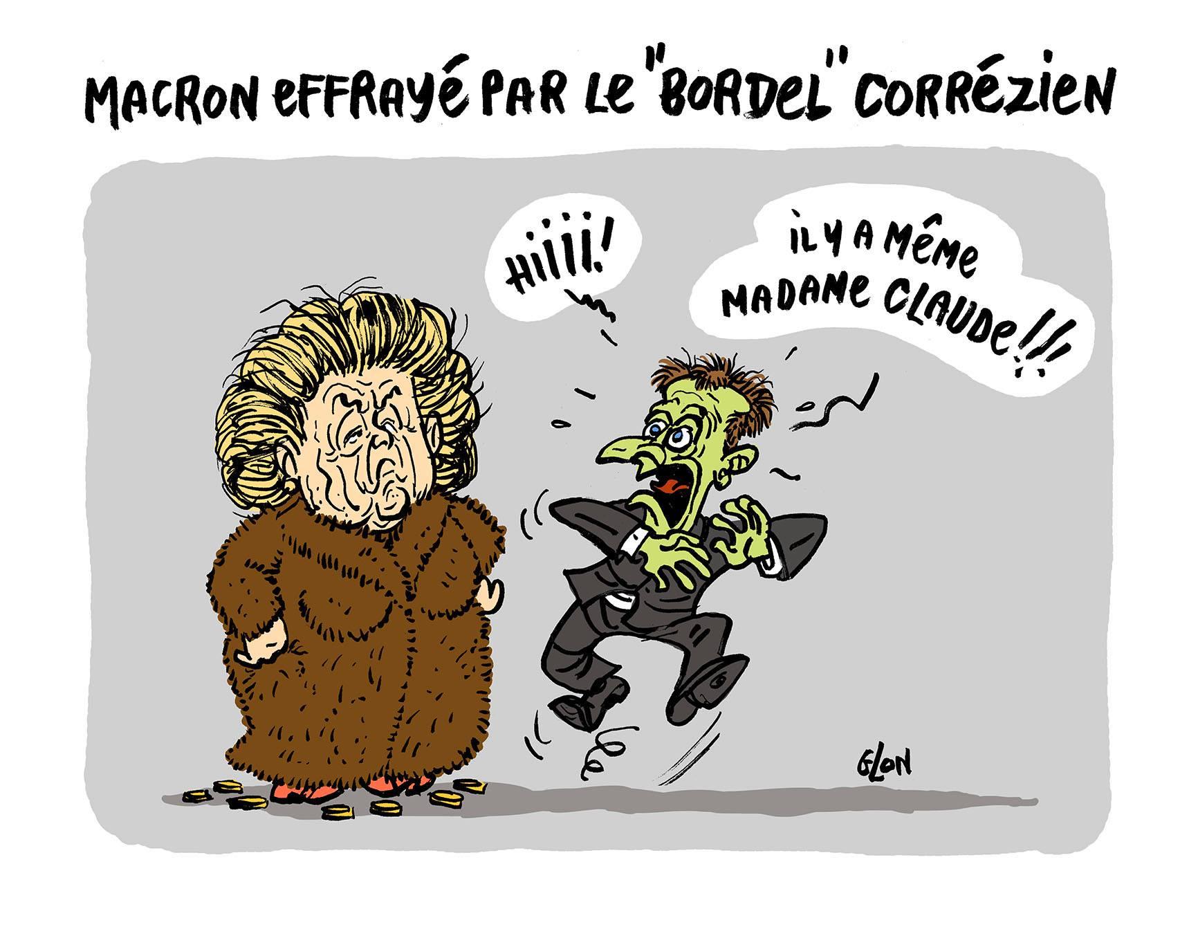 Dessin d'Emmanuel Macron en Corrèze effrayé par Bernadette Chirac