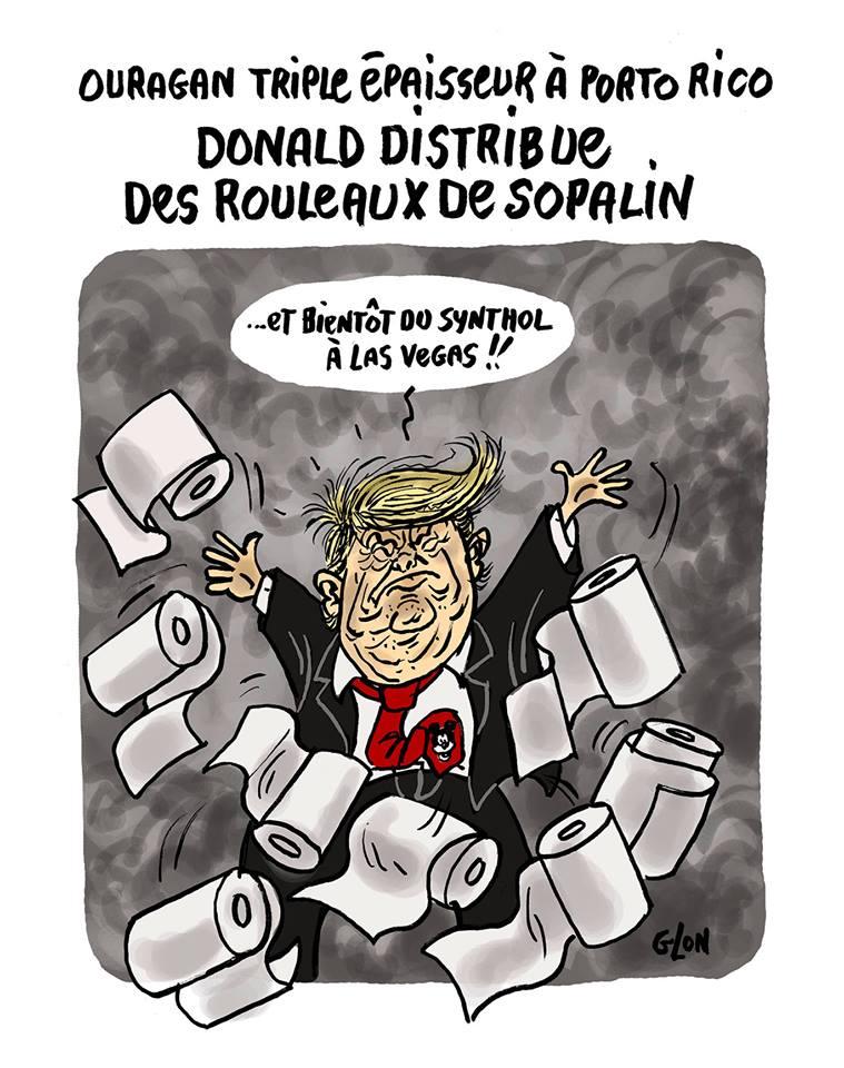 Dessin de Donald Trump qui distribue du sopalin à Porto Rico