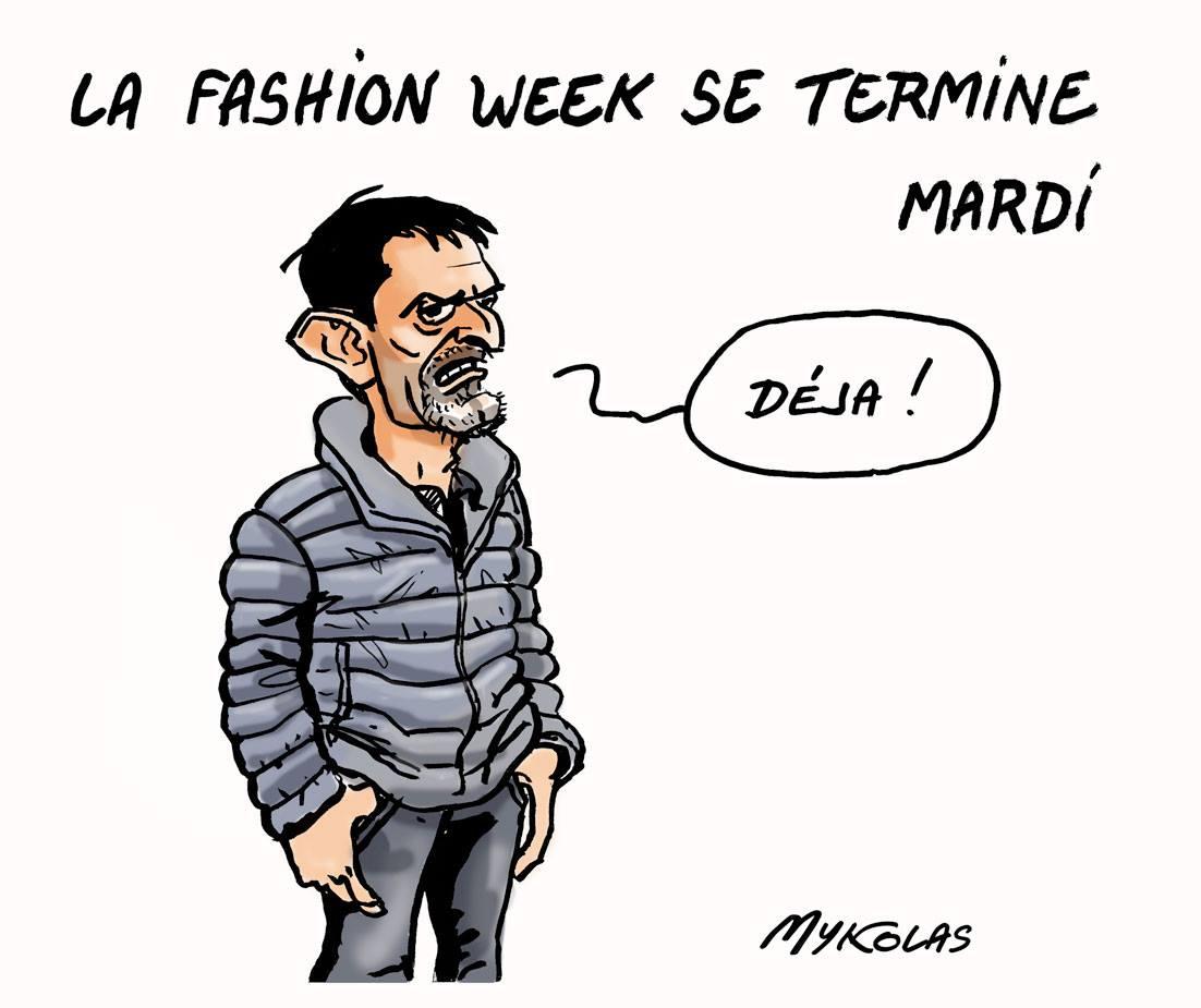 Dessin de Manuel Valls, fashion victime