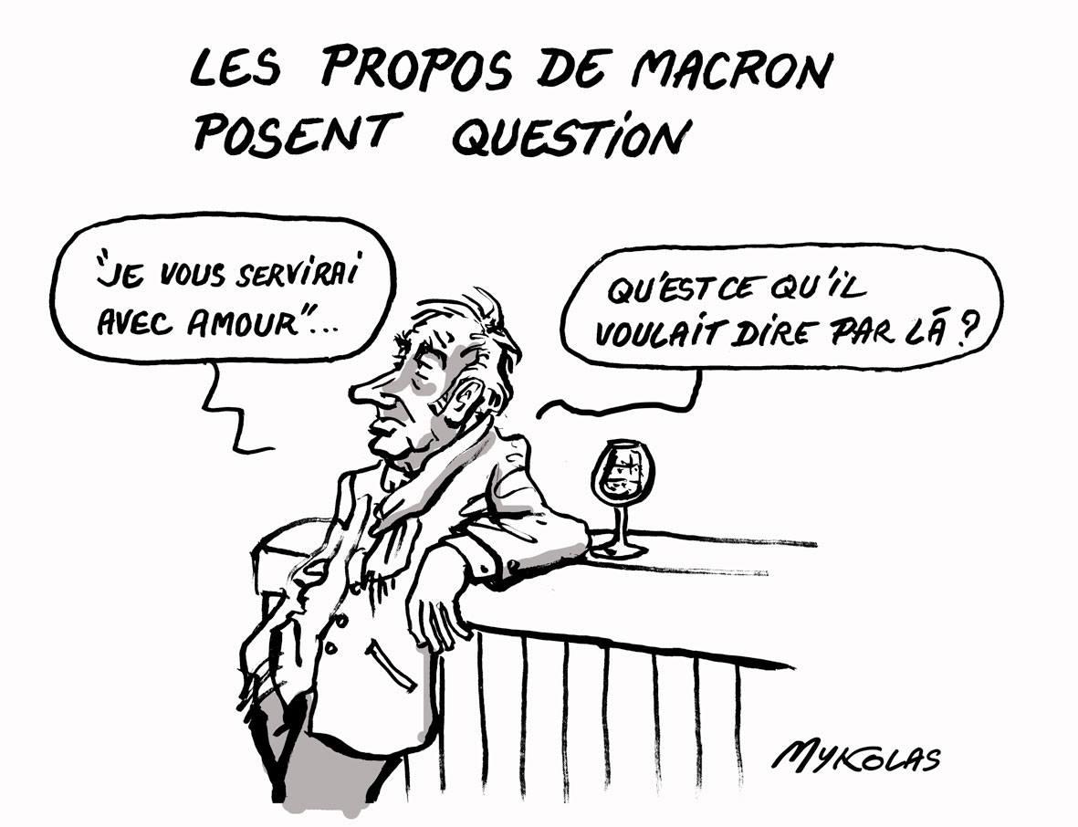 Dessin d'un français s'interrogeant sur les propos d'Emmanuel Macron
