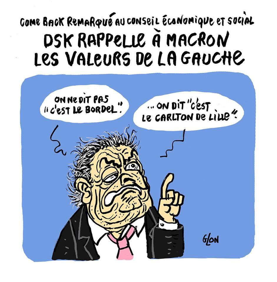 Dessin de Dominique Strauss-Kahn en train de faire la morale à Emmanuel Macron