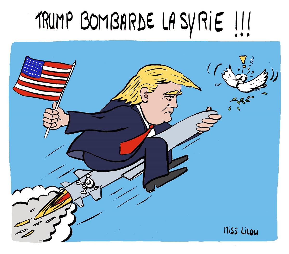 Dessin de Donald Trump chevauchant un missile vers la Syrie