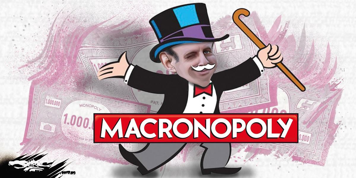 Dessin d'Emmanuel Macron dans le jeu de Monopoly