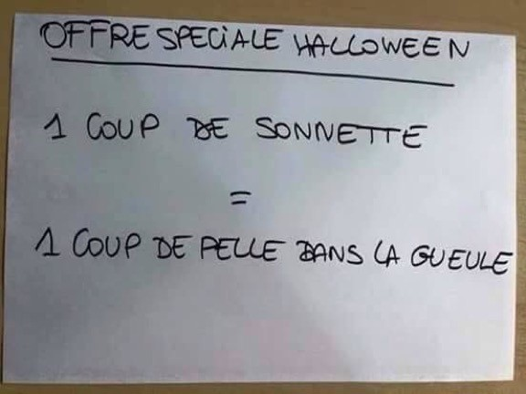 mot d'un voisin qui n'a pas envie d'être dérangé pour des bonbons pendant Halloween