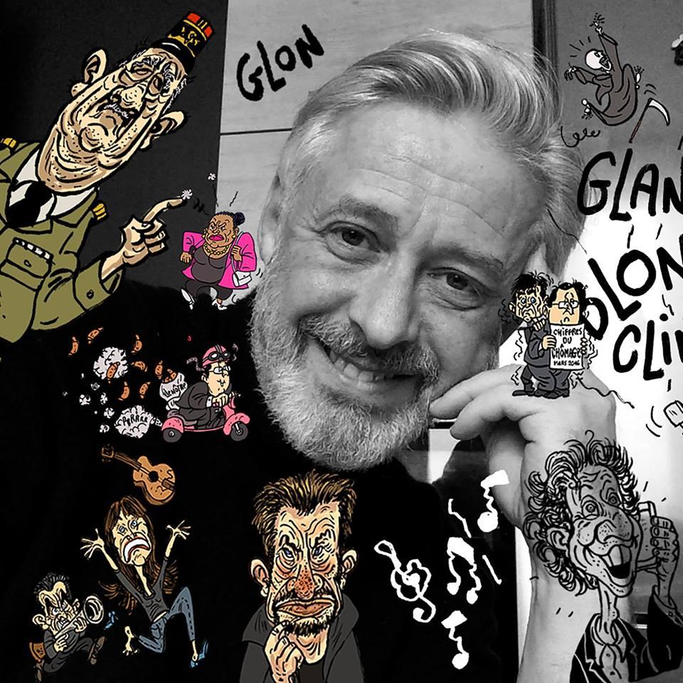 montage photo de François Glon avec ses dessins
